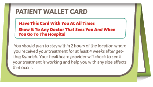 KYMRIAH patient wallet card
